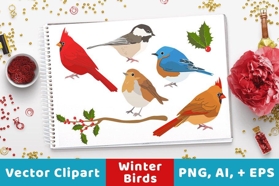 Winter Birds Christmas Clipart.