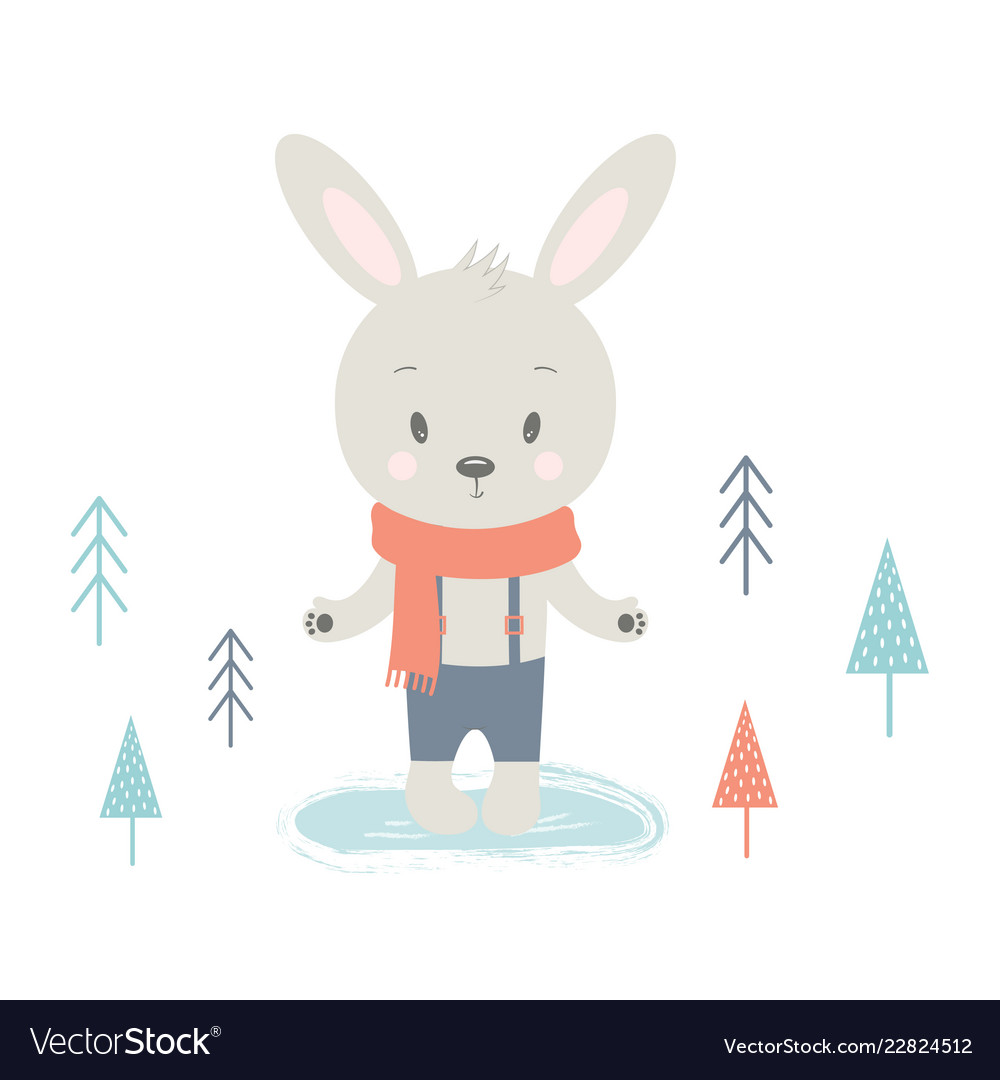 Winter card with rabbit.