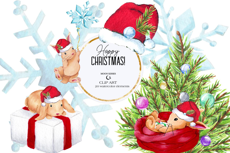 Christmas Bunny Clip Art Winter Rabbit Clipart.