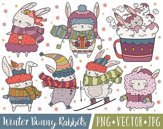Sweet Winter Bunny Rabbit Clipart Images, Cute Rabbit.
