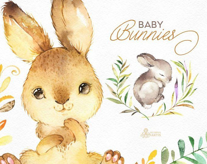Winter Bunnies. Watercolor holiday clipart, rabbit, red.