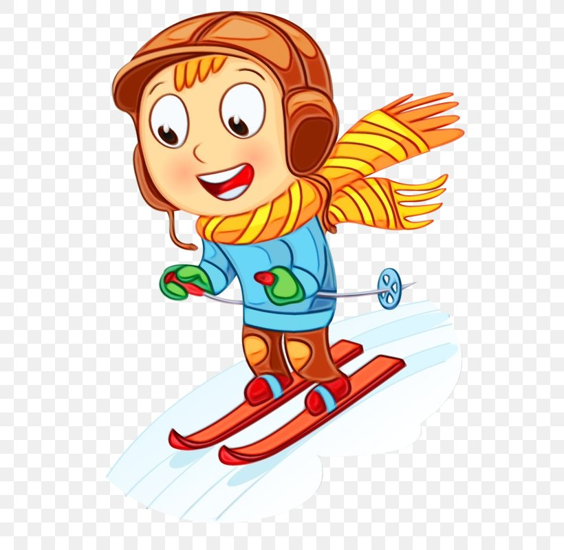 Cartoon Clip Art Recreation Pleased Winter Sport, PNG.