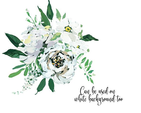 White Peony Flowersl Hand Painted Clipart PNG Bouquets.