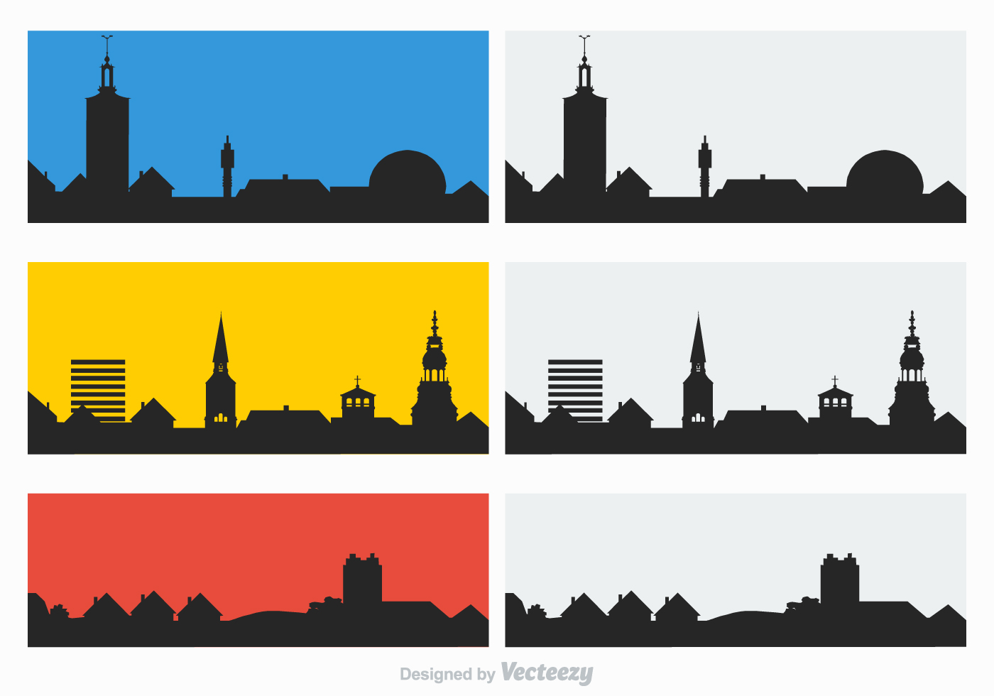 Village Skyline Free Vector Art.