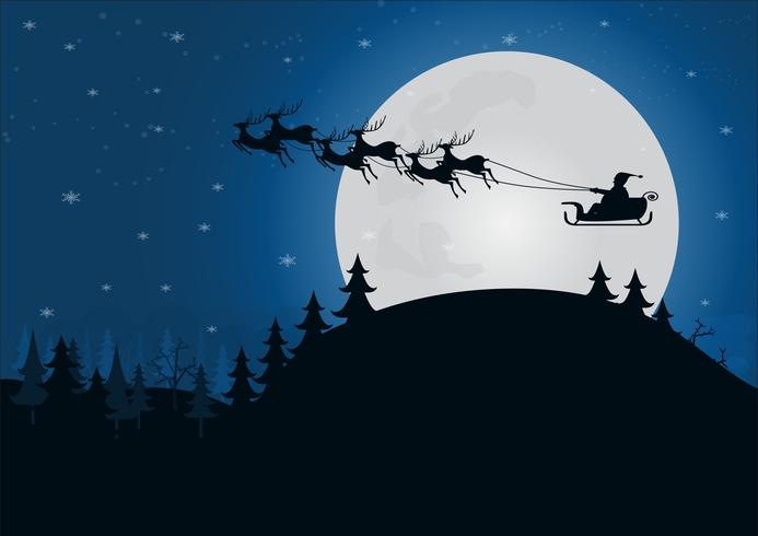 silhouette santa claus with reindeer sleigh above the hill.