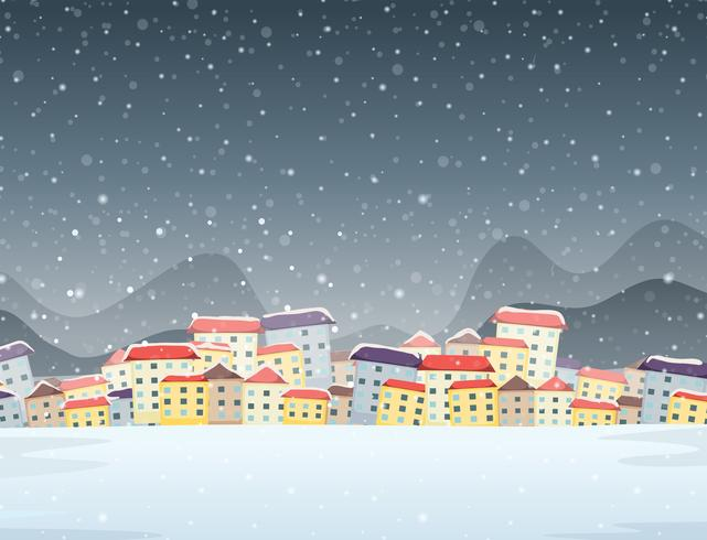 Winter town night background.