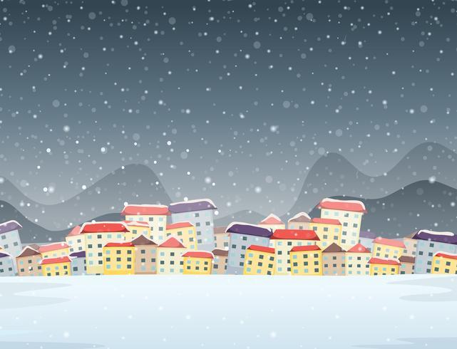 Winter town night background.