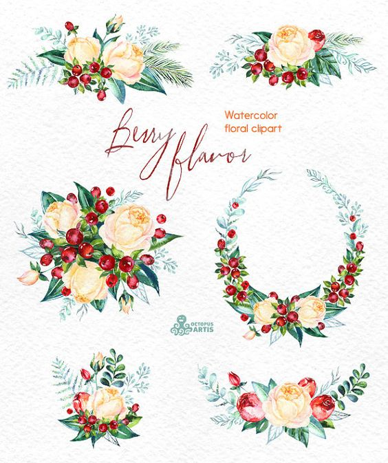 Berry Flavor. Watercolor Bouquets and Wreath, hand painted clipart.