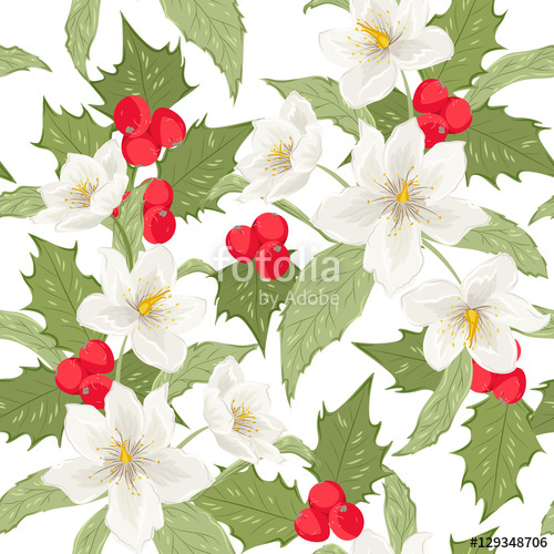 Holly berry and Christmas winter rose flowers leaves seamless.