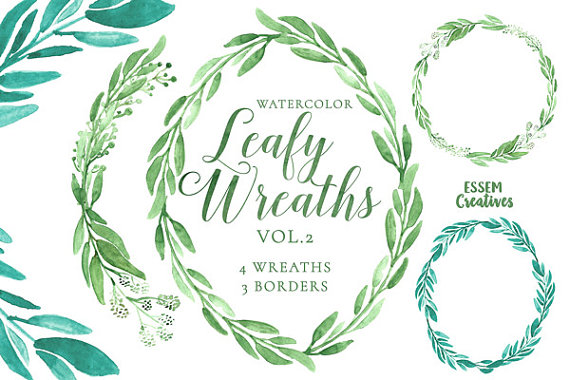 Eucalyptus Watercolor Wreath Clipart, Green Leaves, Rustic.