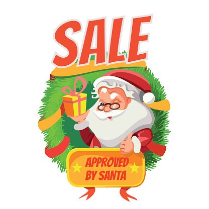 Winter sale banner with cartoon santa Clipart Image.