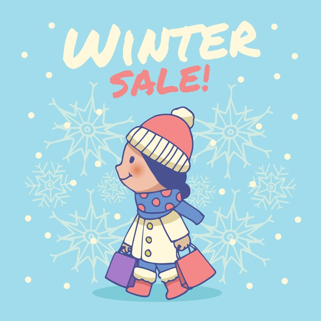 Hand drawn winter sale Vector.