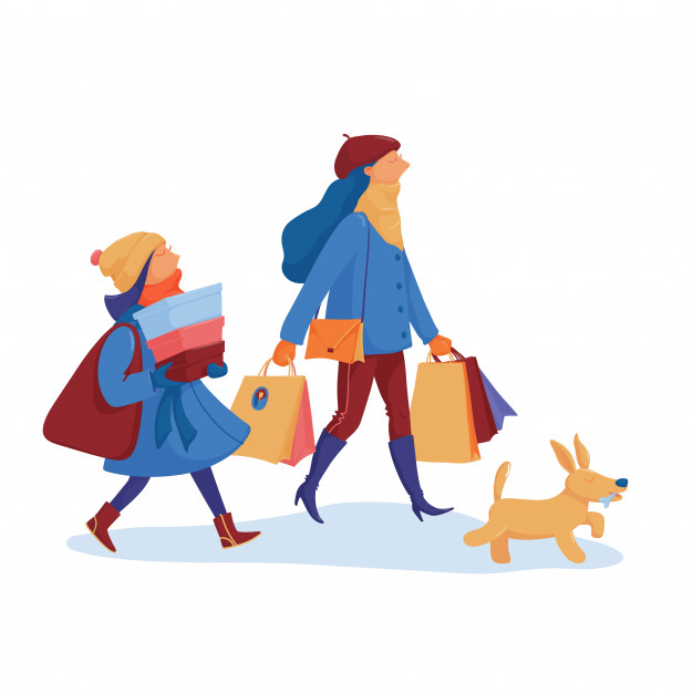 Two girls, friends in warm clothes and a dog going home from.