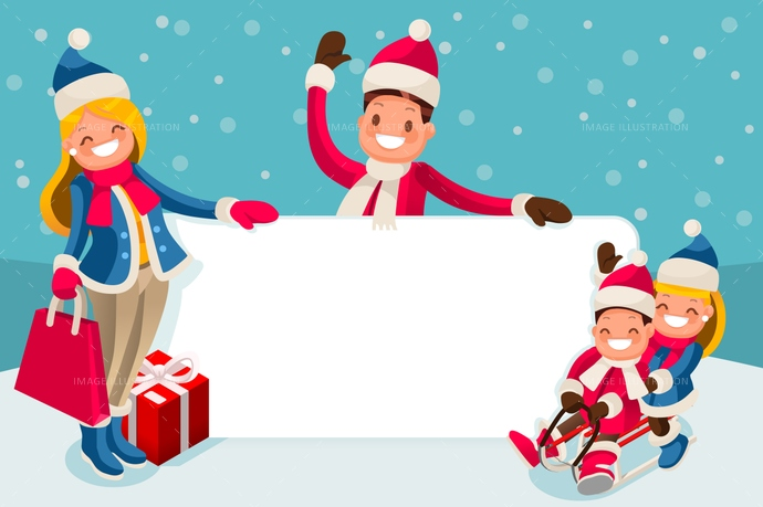 Advertise Family Winter Sale Vector.