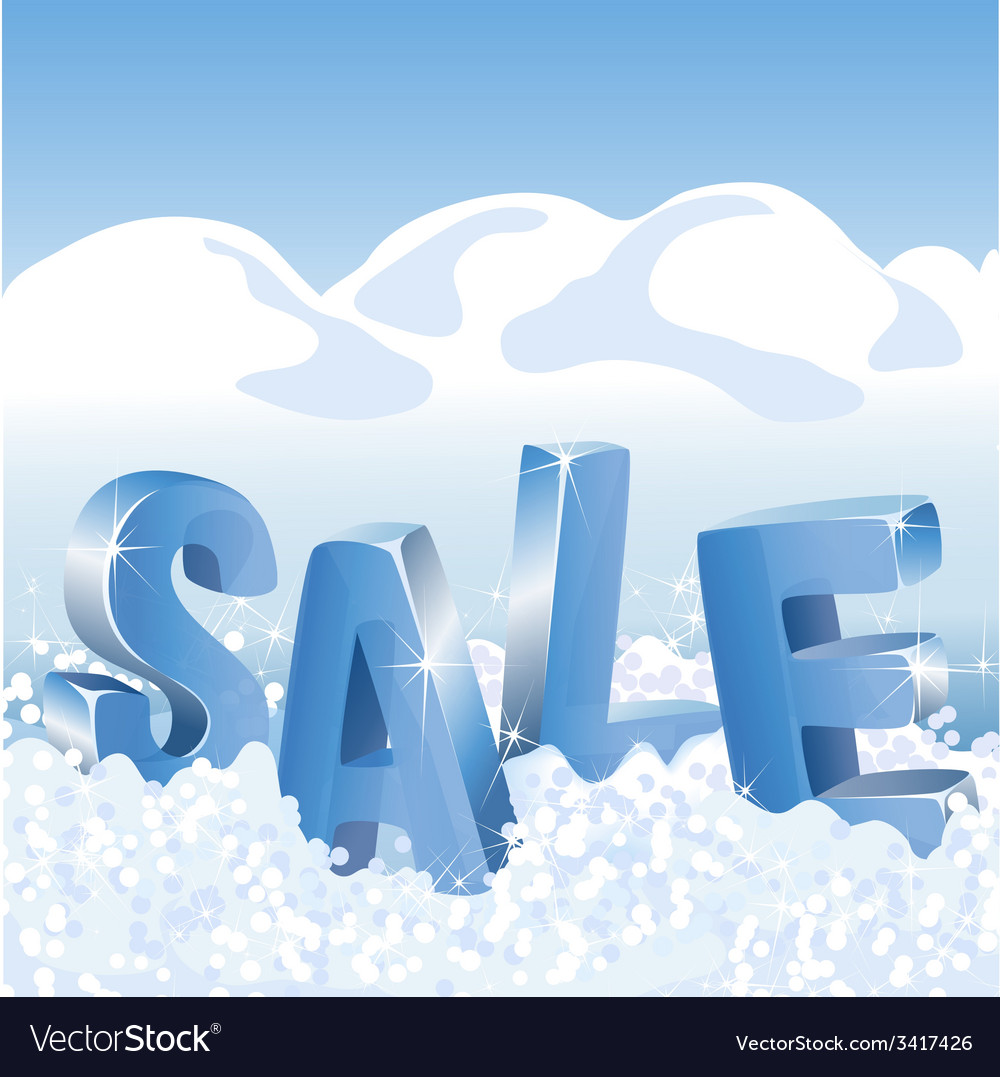 Winter sale blue tags in white snow.