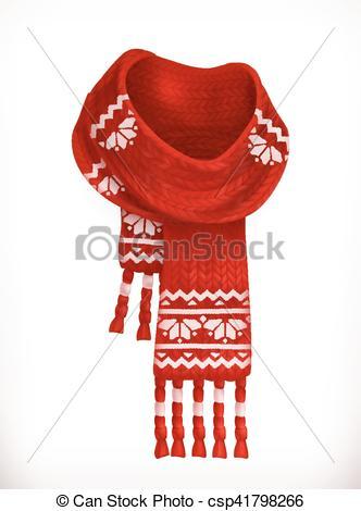Winter scarf. 3d vector icon.