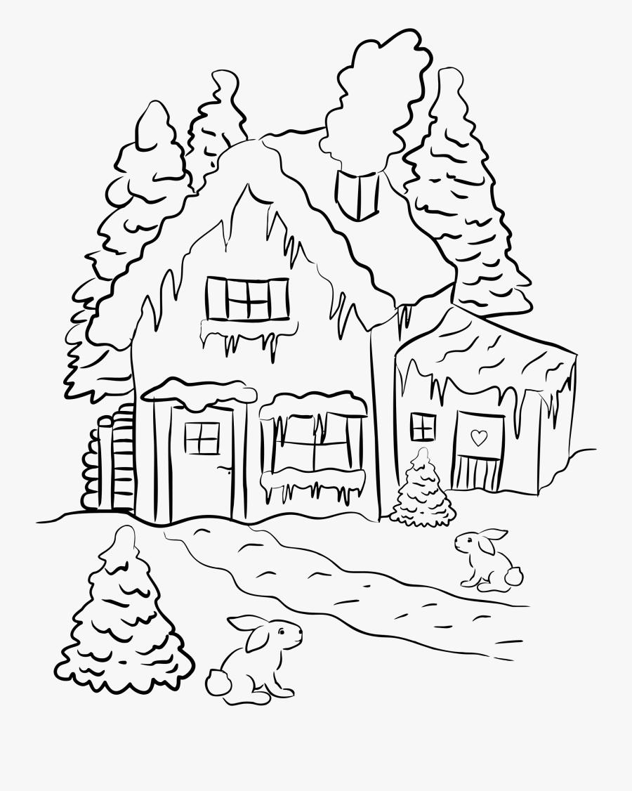 House Scene Line Art.
