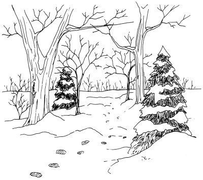 How To Draw Winter Scenery Winter Scene Drawing.