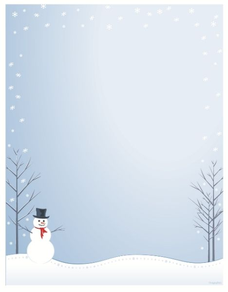 Glitter Snowman Christmas Letterhead.