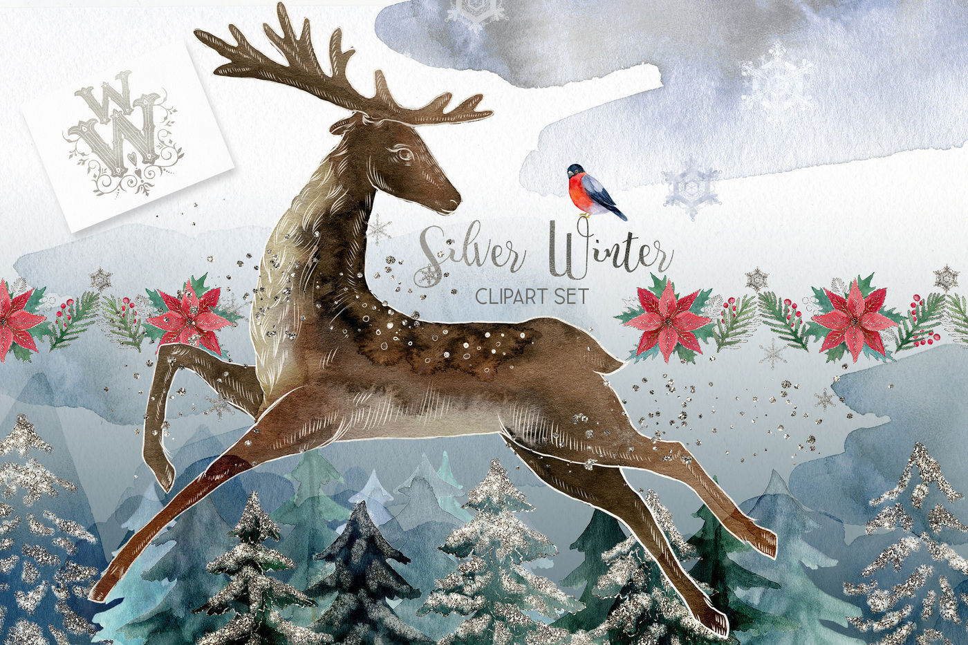 Silver winter clipart with deer By WonderWonder.