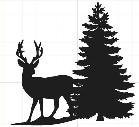 Deer in snow clipart.