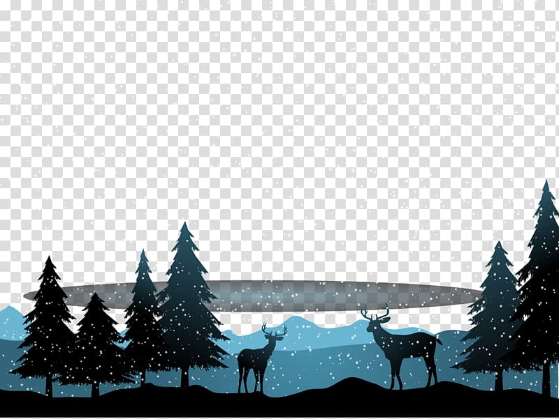 Deer Snow Winter Landscape Christmas, Snowing transparent.