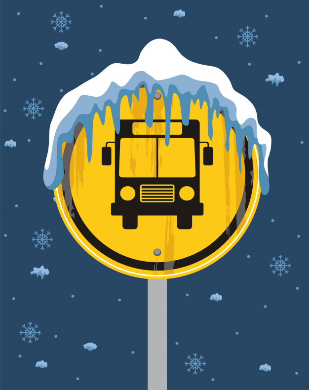 School bus sign on winter background Vector.
