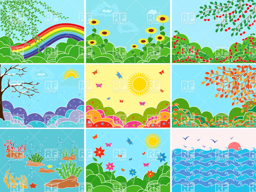 Set of pictures depicting sea and meadows in different seasons.