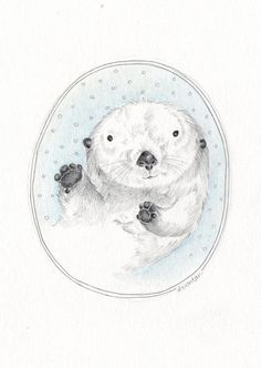 Winter otters clipart.