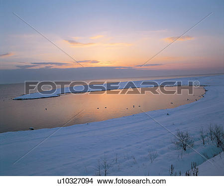 Stock Photo of winter, sea, landscape, scenery, nature, snow.