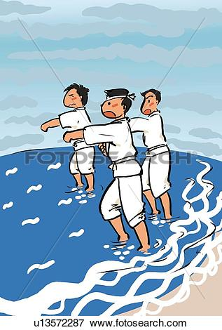 Stock Illustration of Three Young Adult Man Yelling and Training.