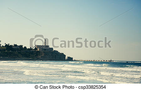 Stock Images of Wallpaper with winter sea and old Jaffa.