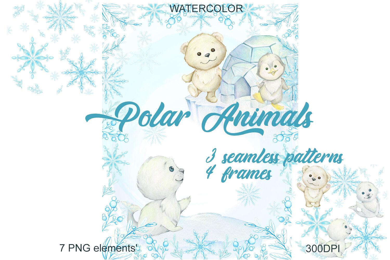 Watercolor Christmas Holiday Winter Clipart. Polar bear.