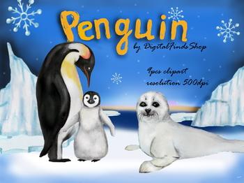 Penguin clipart, seal clipart, winter watercolor clipart, cut animals,  arctic cl.