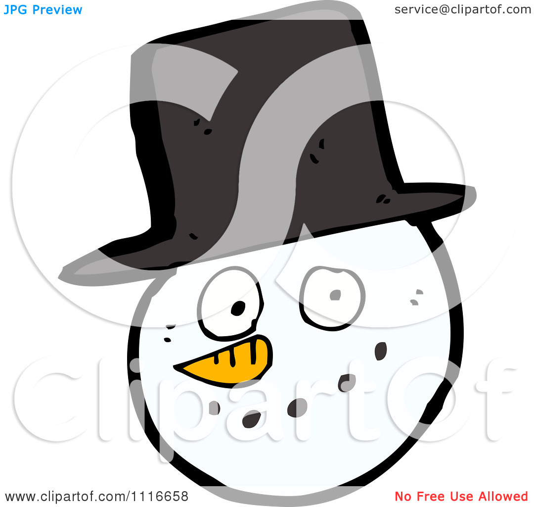 Clipart Christmas Winter Snowman Face With A Top Hat.