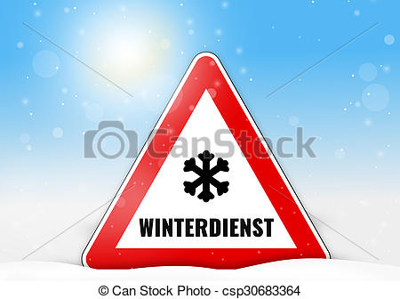 Stock Illustration of German Language Winterdienst for winter.