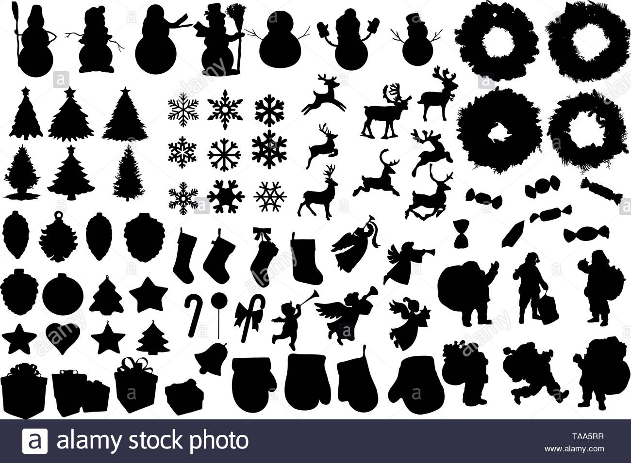 Set of winter and christmas silhouettes. Christmas collection. Clip.