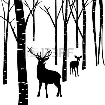 deer silhouette: Couples of deer walking around winter.