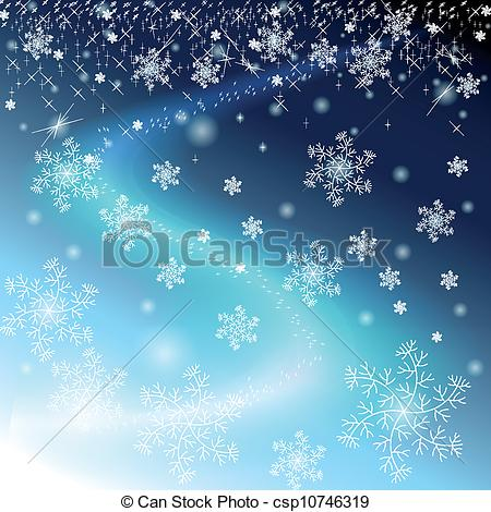 Vector Clip Art of Winter blue sky with snowflakes and stars.