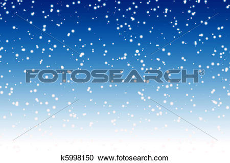 Stock Illustrations of Falling snow over night blue winter sky.