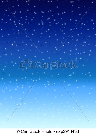 Drawings of Falling snow over night blue winter sky background.