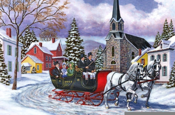 Winter Sleigh Ride Clipart.