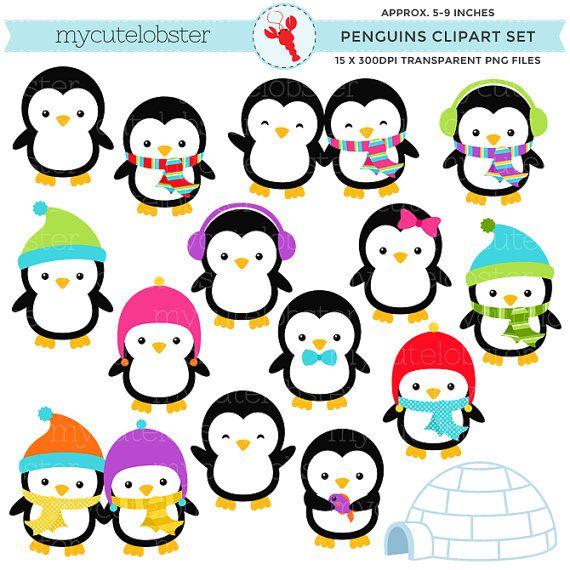 Penguins Clipart Set.