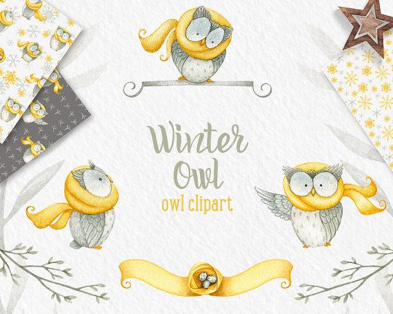 Winter Owl clipart, winter clipart, Owl clipart, digital.
