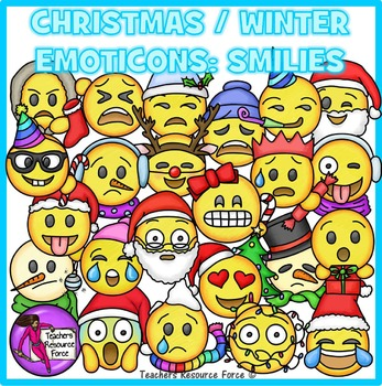 Christmas / Winter Emoji Clip Art: Smiley Faces Emoticons Clipart.