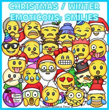 Christmas / Winter Emoji Clip Art: Smiley Faces Emoticons.