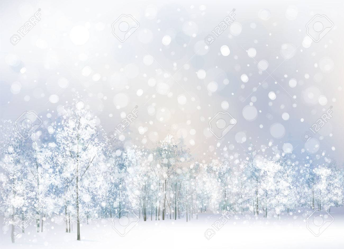 Vector of winter scene with forest background..
