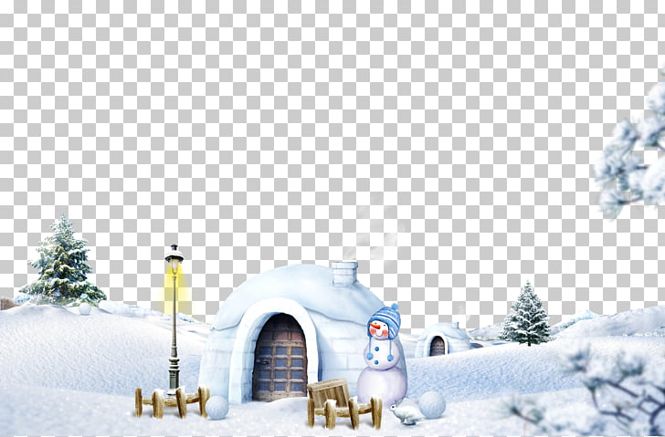 Snow Winter Icon, Igloo scene, white snowman near tree.