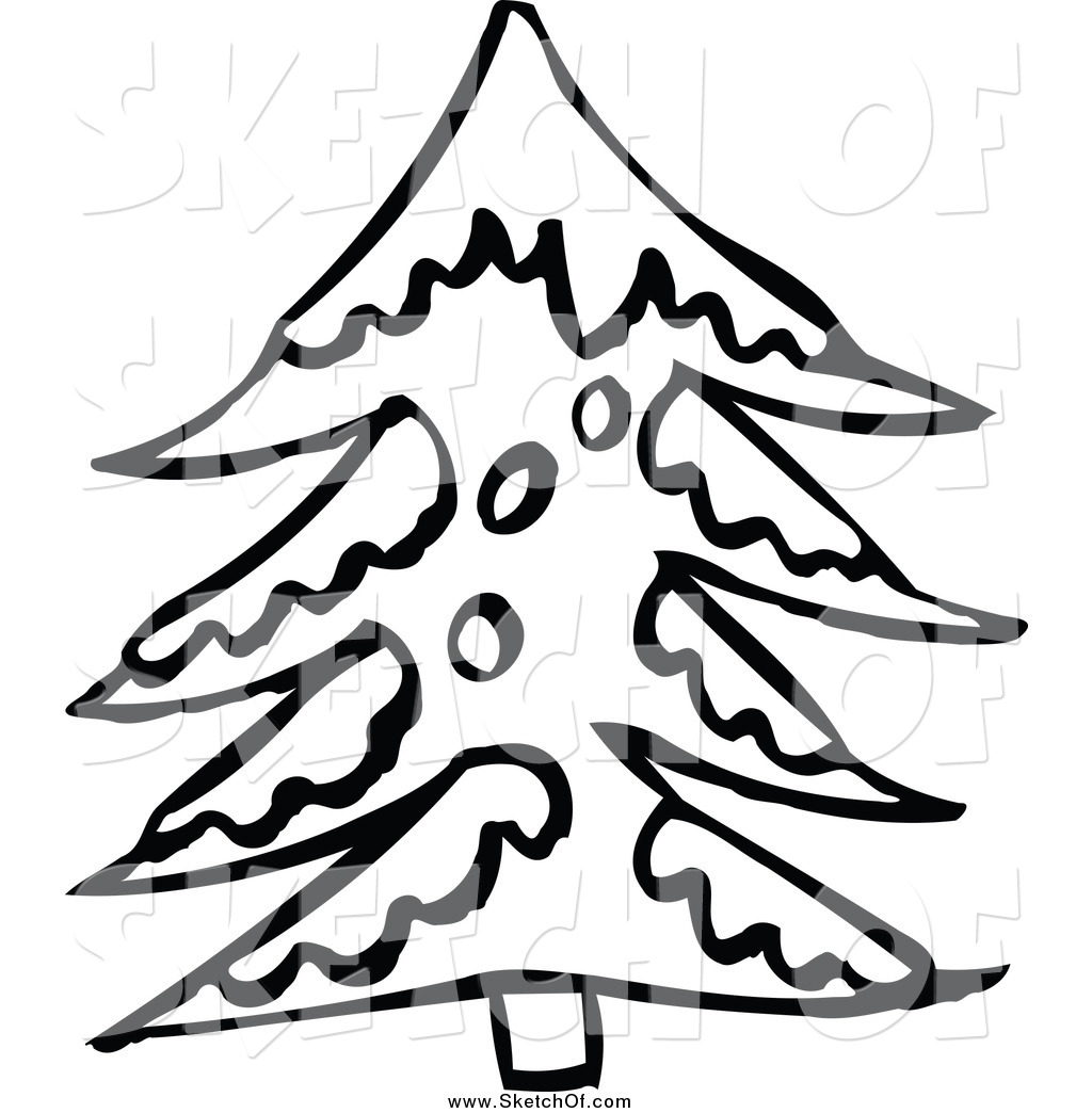 Winter Snow Tree Clipart Black And White.