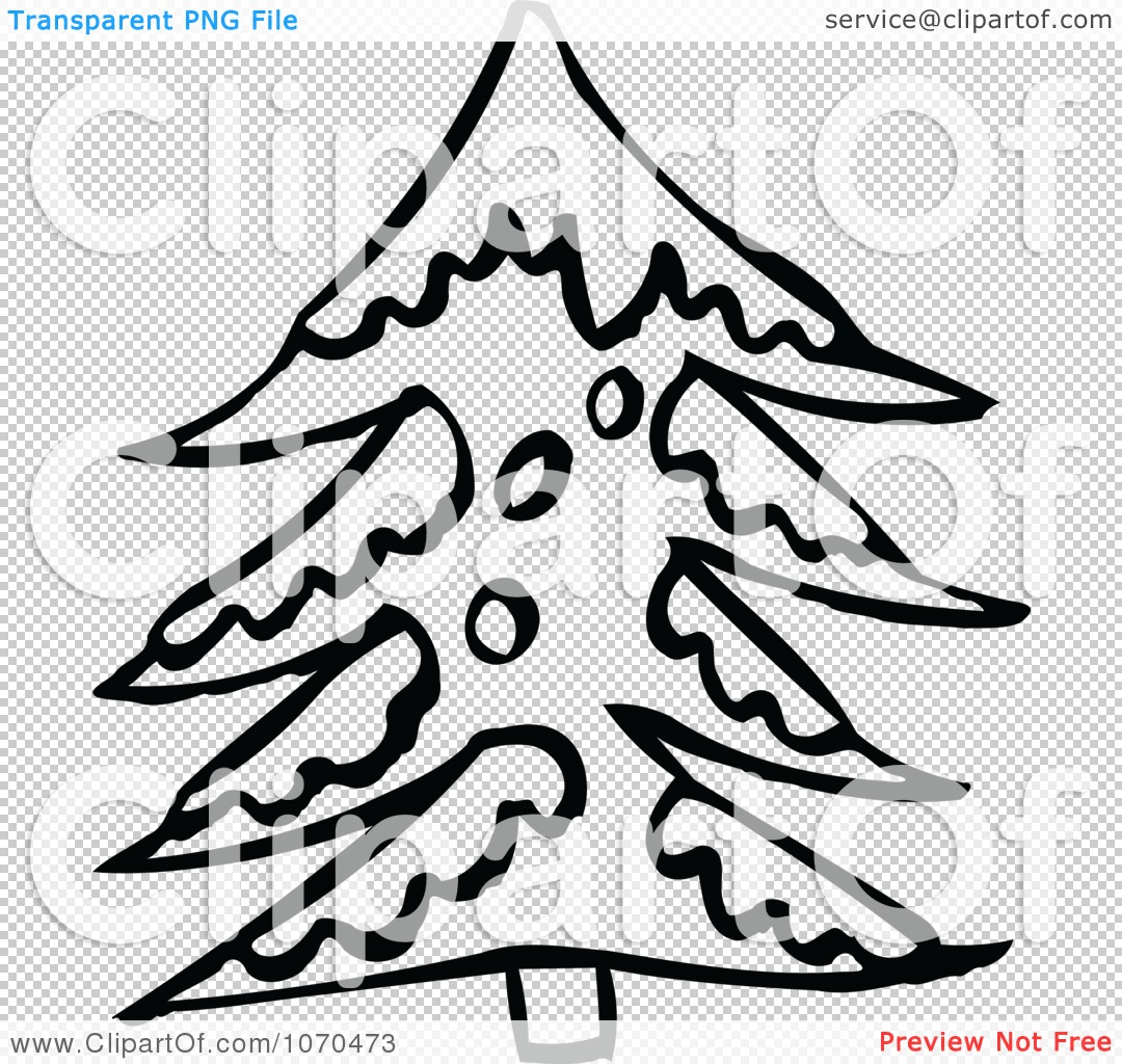 Clipart Black And White Snow Flocked Tree.